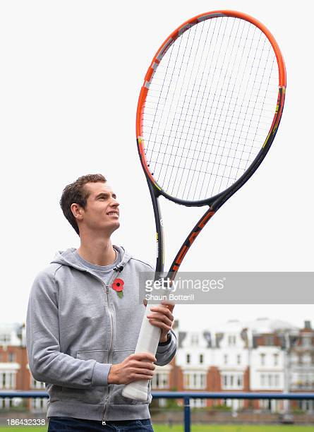 Andy Murray of Great Britain during the new Head Graphene Radical tennis racket launch at Queen's Club on October 31 2013 in London England