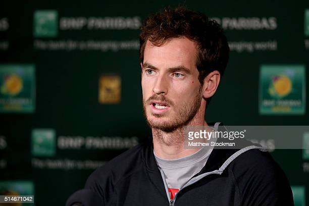 Andy Murray of Great Britain fields questions from the media during the BNP Paribas Open at the Indian Wells Tennis Garden on March 10, 2016 in...