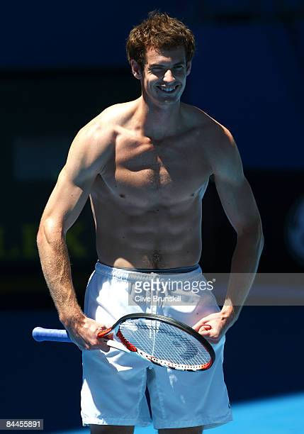 Andy Murray of Great Britain flexes his muscles during a practice session ahead of the Australian Open 2009 at Melbourne Park on January 18 2009 in...