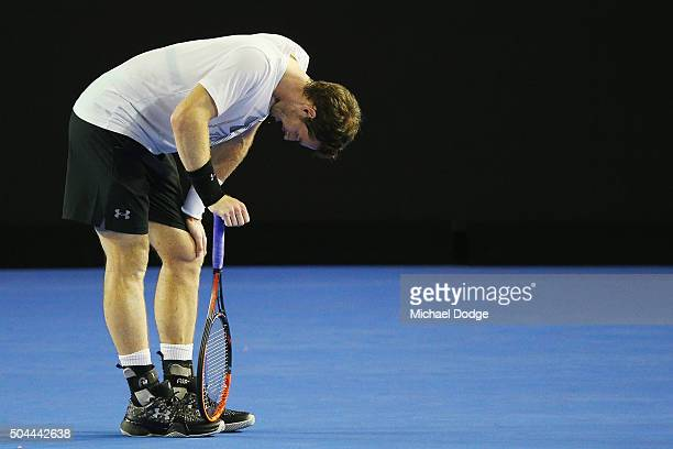 Andy Murray of Great Britain has a rest between points during a practice session ahead of the 2016 Australian Open at Melbourne Park on January 11...