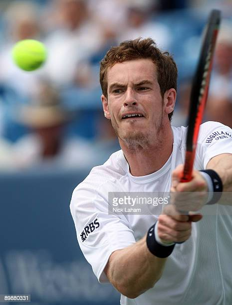 Andy Murray of Great Britain hits a backhand against Nicolas Almagro of Spain during day three of the Western Southern Financial Group Masters on...