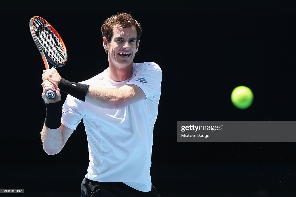 Andy Murray of Great Britain hits a backhand during a practice session ahead of the 2016 Australian Open at Melbourne Park on January 16, 2016 in Melbourne, Australia.