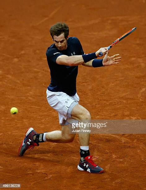 Andy Murray of Great Britain hits a backhand during the singles match against David Goffin of Belgium on day three of the Davis Cup Final 2015 at...