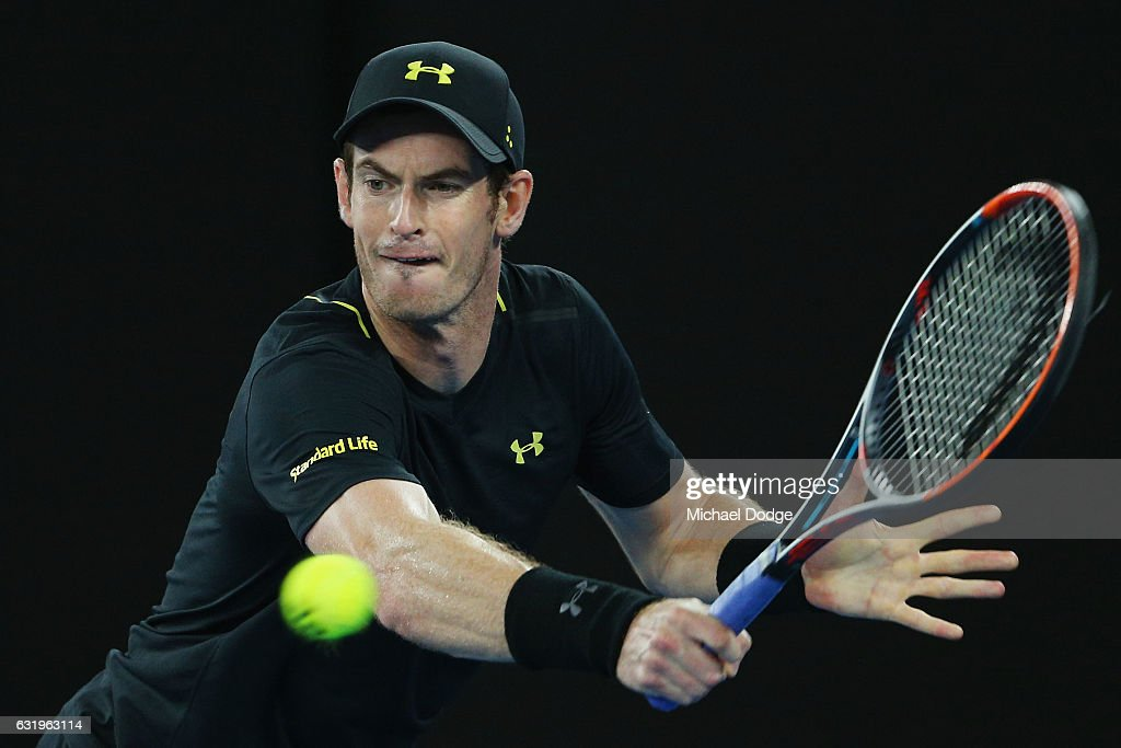 Andy Murray of Great Britain hits a backhand in his second round match against Andrey Rublev of Russia on day three of the 2017 Australian Open at Melbourne Park on January 18, 2017 in Melbourne, Australia.