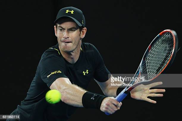 Andy Murray of Great Britain hits a backhand in his second round match against Andrey Rublev of Russia on day three of the 2017 Australian Open at...