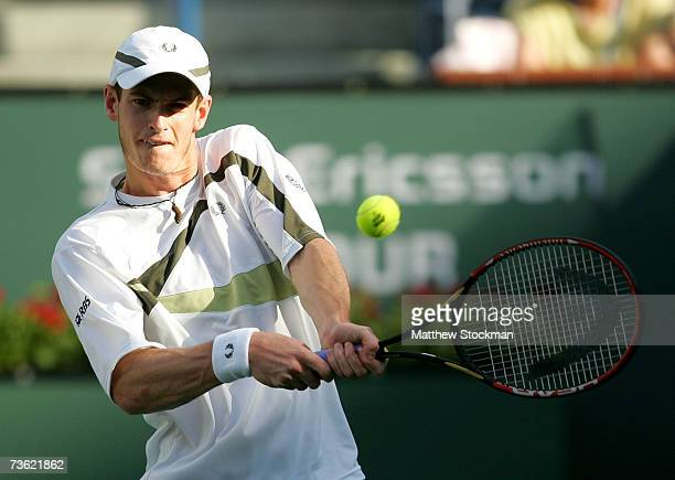Andy Murray of Great Britain hits a backhand to Novak Djokovic of Serbia in the semifinals of the Pacific Life Open on March 17 2007 at the Indian...