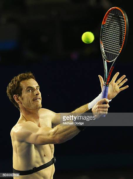 Andy Murray of Great Britain hits a backhand volley during a practice session ahead of the 2016 Australian Open at Melbourne Park on January 11, 2016...