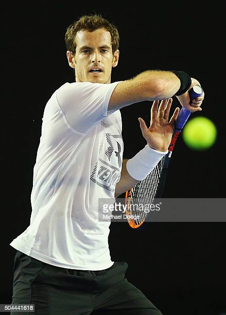 Andy Murray of Great Britain hits a forehand during a practice session ahead of the 2016 Australian Open at Melbourne Park on January 11 2016 in...