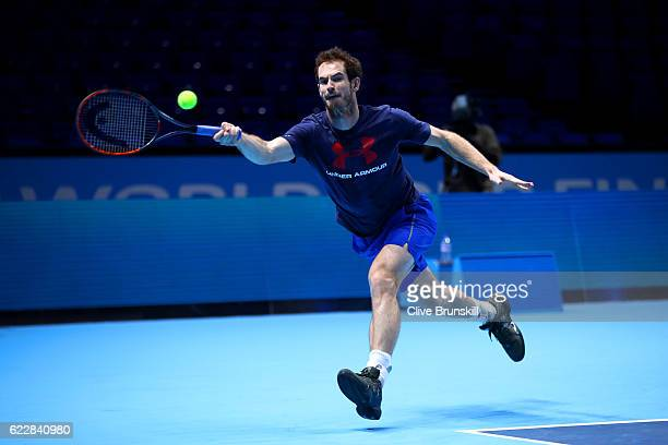 Andy Murray of Great Britain hits a forehand during a practice session during previews for the Barclays ATP World Tour Finals at O2 Arena on November...