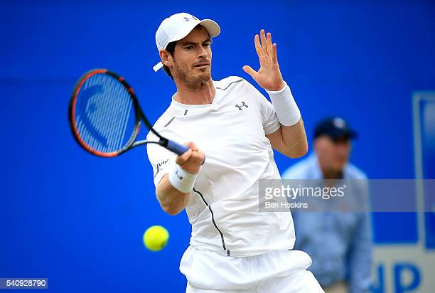 Andy Murray of Great Britain hits a forehand during his quarter final match against Kyle Edmund of Great Britain on day five of The Aegon...