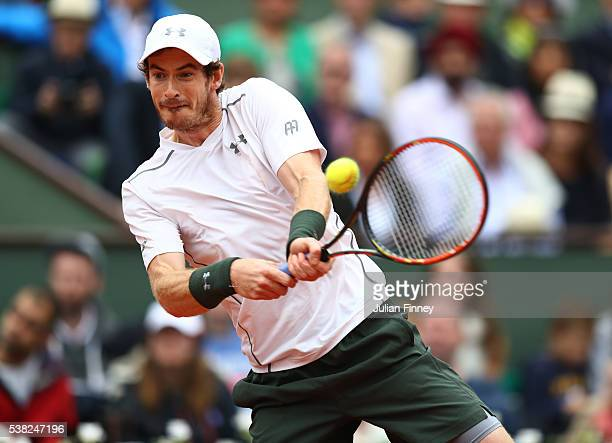 Andy Murray of Great Britain hits a forehand during the Men's Singles final match against Novak Djokovic of Serbia on day fifteen of the 2016 French...