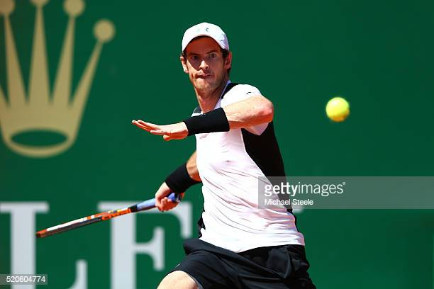 Andy Murray of Great Britain hits a forehand during the second round match against PierreHughes Herbert of France on day three of the Monte Carlo...