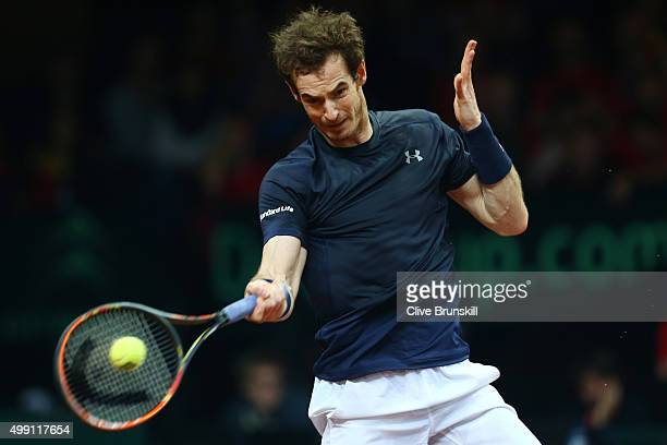 Andy Murray of Great Britain hits a forehand during the singles match against David Goffin of Belgium on day three of the Davis Cup Final 2015 at...