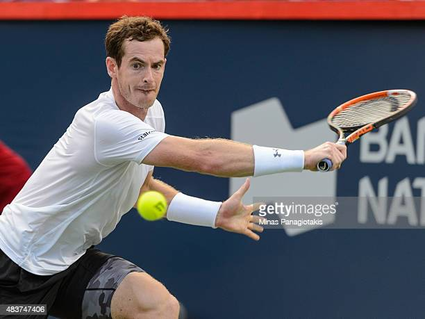 Andy Murray of Great Britain hits a return against Tommy Robredo of Spain during day three of the Rogers Cup at Uniprix Stadium on August 12 2015 in...