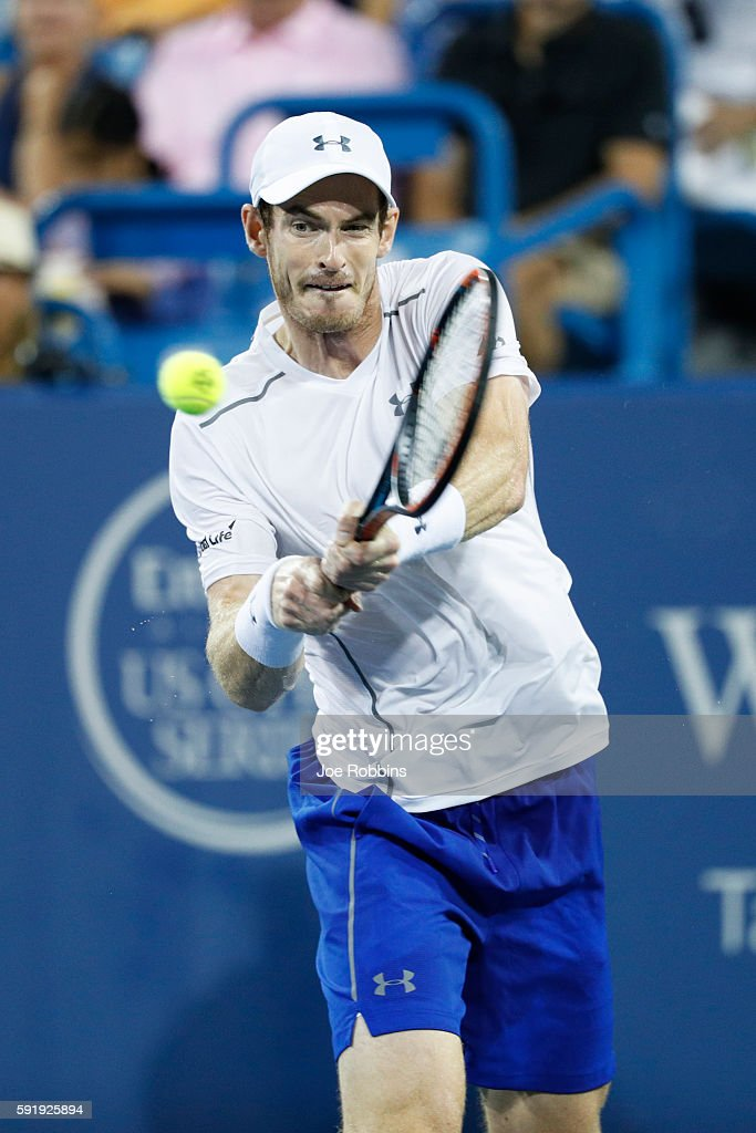 Andy Murray of Great Britain hits a return to Kevin Anderson of South Africa during a third round match on Day 6 of the Western & Southern Open at the Lindner Family Tennis Center on August 18, 2016 in Mason, Ohio. Murray defeated Anderson 6-3, 6-2.
