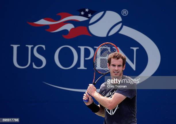 Andy Murray of Great Britain hits a shot during a practice session prior to the start of the 2016 US Open at the USTA Billie Jean King National...
