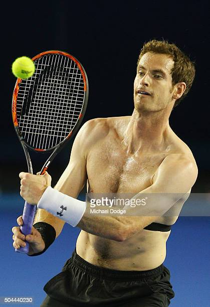 Andy Murray of Great Britain hits a volley during a practice session ahead of the 2016 Australian Open at Melbourne Park on January 11 2016 in...