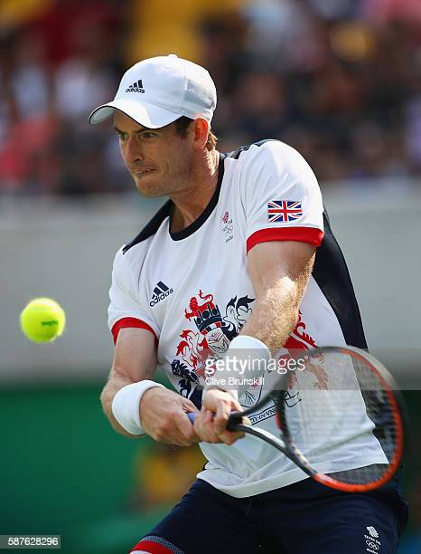 Andy Murray of Great Britain hits during the men's second round singles match against Juan Monaco of Argentina on Day 4 of the Rio 2016 Olympic Games...