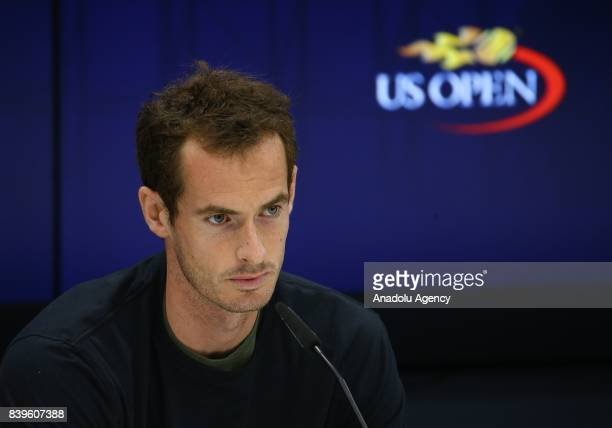 Andy Murray of Great Britain holds a press conference ahead of 2017 US Open Tennis Championships which will be held on August 28September 10 at...