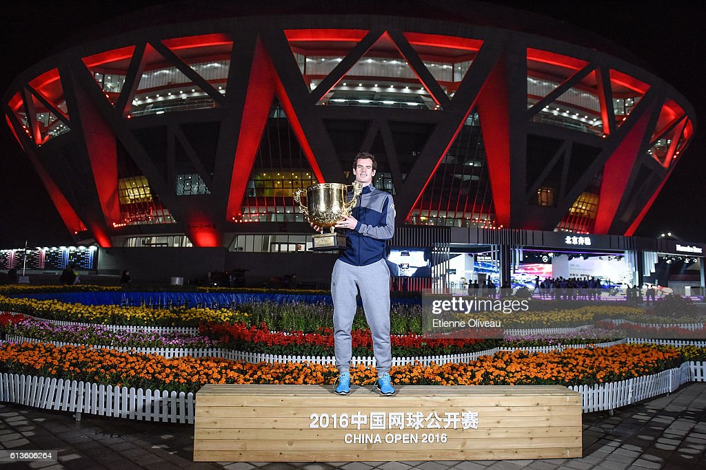 Andy Murray of Great Britain holds the winners trophy after winning the Men's Singles final against Grigor Dimitrov of Bulgaria on day nine of the 2016 China Open at the China National Tennis Centre on October 9, 2016 in Beijing, China.