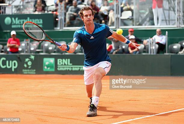Andy Murray of Great Britain in action against Andreas Seppi of Italy during day two of the Davis Cup World Group Quarter Final match between Italy...