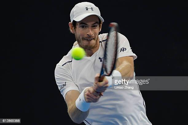 Andy Murray of Great Britain in action against Andrey Kuznetsov of Russia during the Men's singles second round match on day five of the 2016 China...