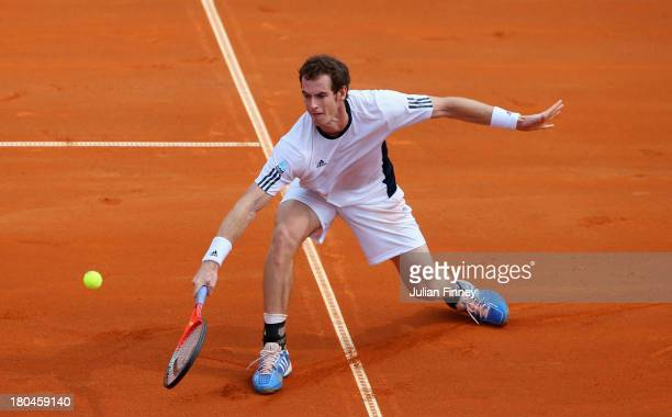 Andy Murray of Great Britain in action against Borna Coric of Croatia during day one of the Davis Cup World Group play-off tie between Croatia and...