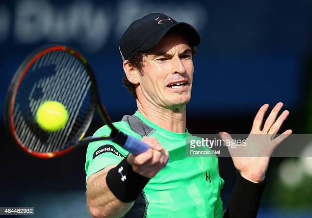 Andy Murray of Great Britain in action against Borna Coric of Croatia during their men's singles quarterfinal match of the ATP Dubai Duty Free Tennis...