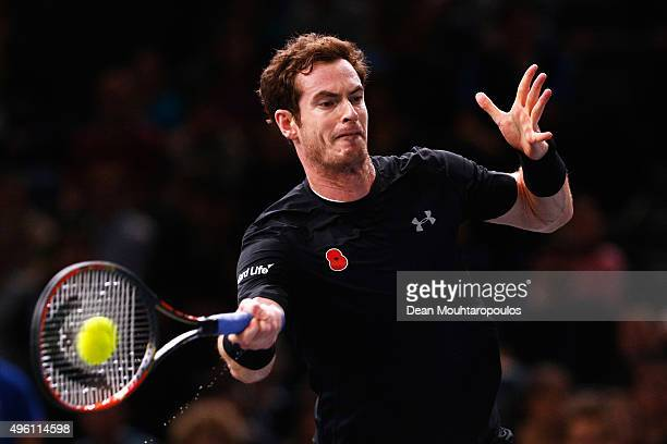 Andy Murray of Great Britain in action against David Ferrer of Spain in their semi final match during Day 6 of the BNP Paribas Masters held at...