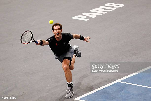 Andy Murray of Great Britain in action against David Goffin of Belgium during Day 4 of the BNP Paribas Masters held at AccorHotels Arena on November...