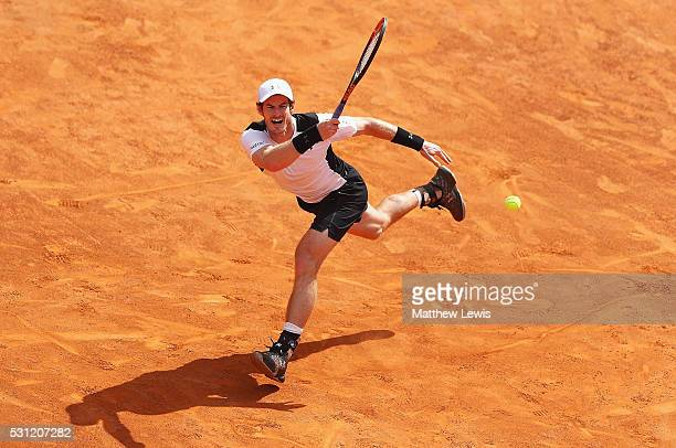 Andy Murray of Great Britain in action against David Goffin of Belguim during day six of the The Internazionali BNL d'Italia 2016 on May 13 2016 in...