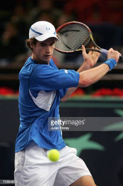 Andy Murray of Great Britain in action against Dominik Hrbaty of Slovakia in the third round during day four of the BNP Paribas ATP Tennis Masters...