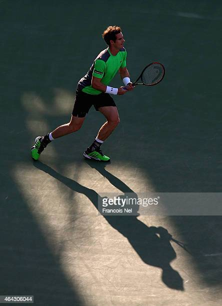 Andy Murray of Great Britain in action against Gilles Muller of Luxembourg during day two of the ATP Dubai Duty Free Tennis Championships at the...