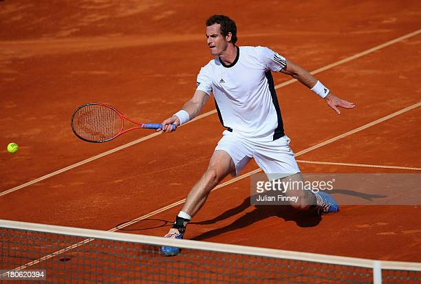 Andy Murray of Great Britain in action against Ivan Dodig of Croatia during day three of the Davis Cup World Group play-off tie between Croatia and...