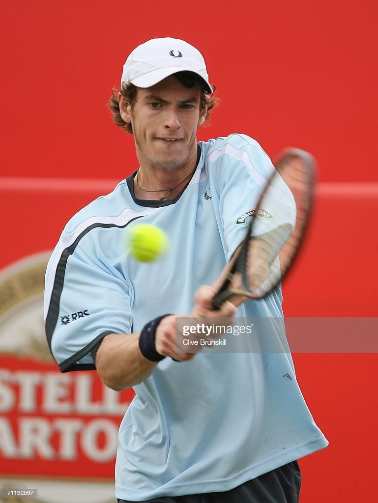 Andy Murray of Great Britain in action against Janko Tipsarevic of Serbia and Montenegro during the Stella Artois Championships at Queen's Club on June 13, 2006 in London, Engand.
