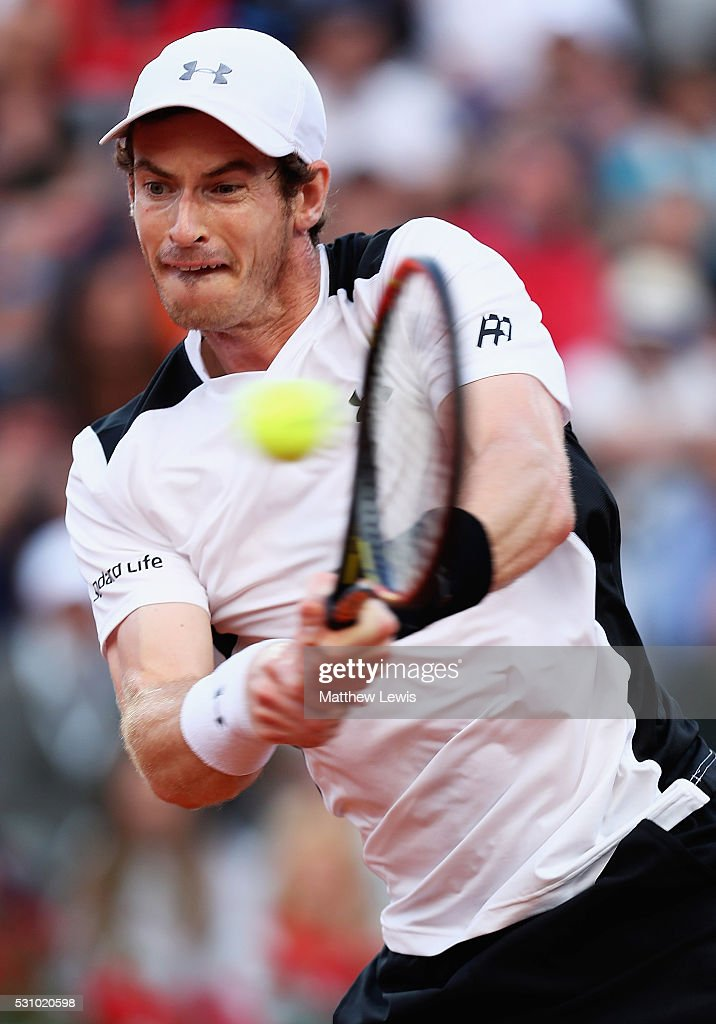 Andy Murray of Great Britain in action against Jeremy Chardy of France during day five of The Internazionali BNL d'Italia 2016 on May 12, 2016 in Rome, Italy.