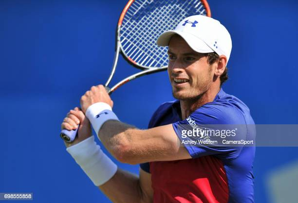 Andy Murray of Great Britain in action against Jordan Thompson of Australia in their Men's Singles First Round Match during Day 2 of the Aegon...