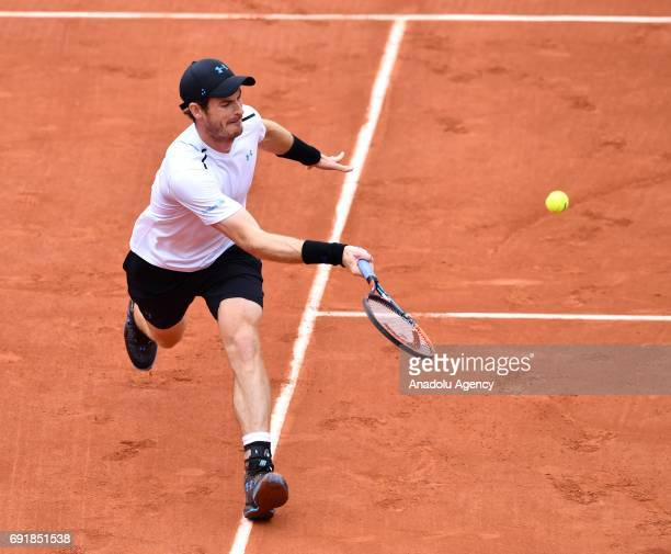 Andy Murray of Great Britain in action against Juan Martin Del Potro of Argentina in their third round match of the French Open tennis tournament at...