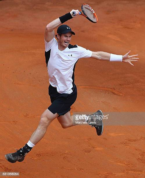 Andy Murray of Great Britain in action against Lucas Pouille of France during day seven of The Internazionali BNL d'Italia 2016 on May 14 2016 in...