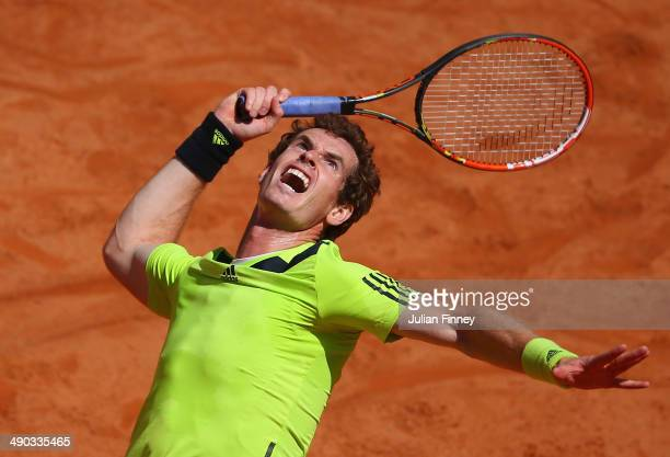 Andy Murray of Great Britain in action against Marcel Granollers of Spain during day four of the Internazionali BNL d'Italia tennis 2014 on May 14...