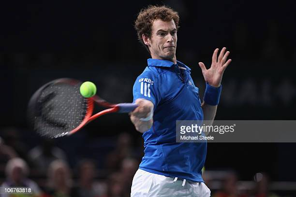 Andy Murray of Great Britain in action against Marin Cilic of Croatia during Day Five of the ATP Masters Series Paris at the Palais Omnisports on...