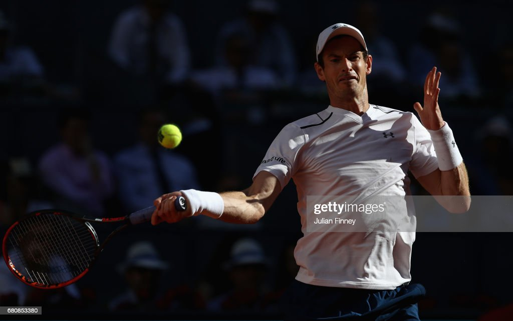 Andy Murray of Great Britain in action against Marius Copil of Romania during day four of the Mutua Madrid Open tennis at La Caja Magica on May 9, 2017 in Madrid, Spain.
