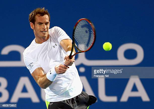 Andy Murray of Great Britain in action against Rafael Nadal of Spain during the semi final match of the Mubadala World Tennis Championship at Zayed...