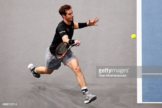 Andy Murray of Great Britain in action against Richard Gasquet of France during Day 5 of the BNP Paribas Masters held at AccorHotels Arena on...
