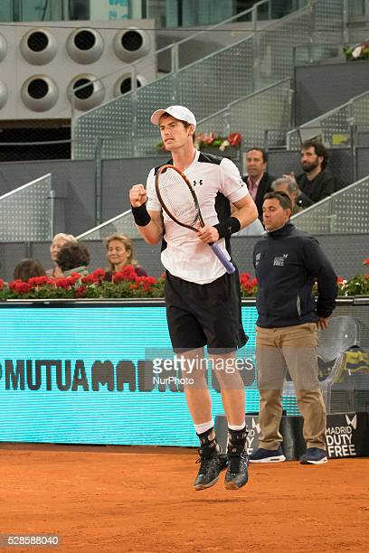 Andy Murray of Great Britain in action against Tomas Berdych of the Czech Republic in their quarter final round match during day seven of the Mutua...