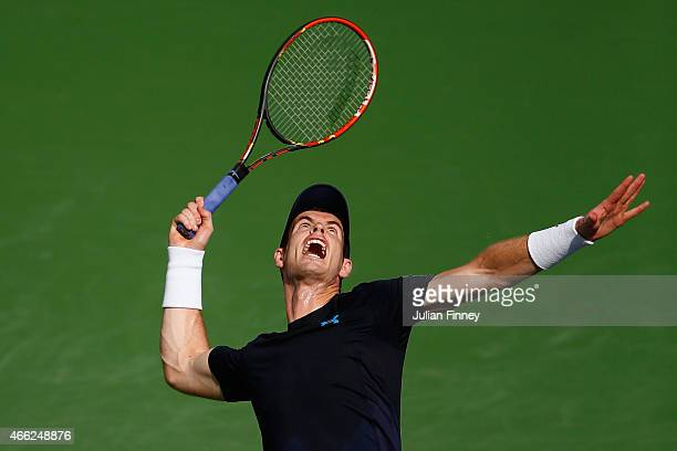 Andy Murray of Great Britain in action against Vasek Pospisil of Canada during day six of the BNP Paribas Open tennis at the Indian Wells Tennis...