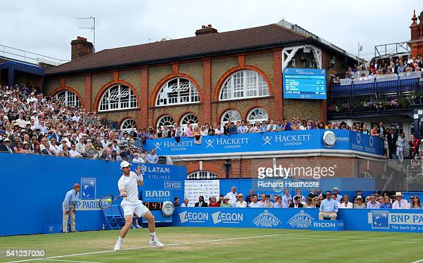 Andy Murray of Great Britain in action aganist Milos Raonic of Canada in the final of The Aegon Championships on day seven at Queens Club on June 19...