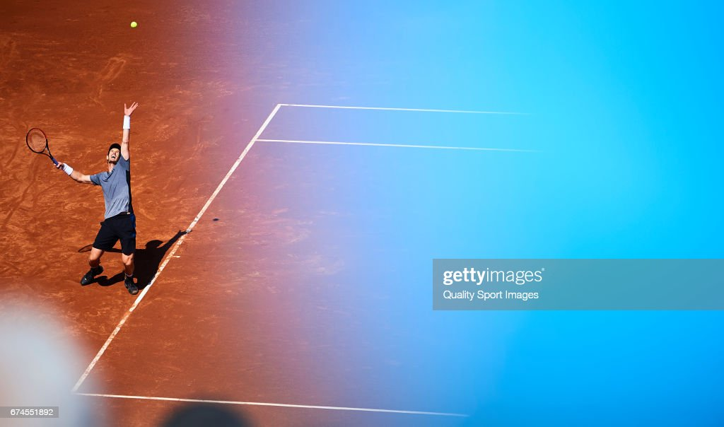 Andy Murray of Great Britain in action at his match against Albert Ramos Vinolas of Spain during the Day 5 of the Barcelona Open Banc Sabadell at the Real Club de Tenis Barcelona on April 28, 2017 in Barcelona, Spain.