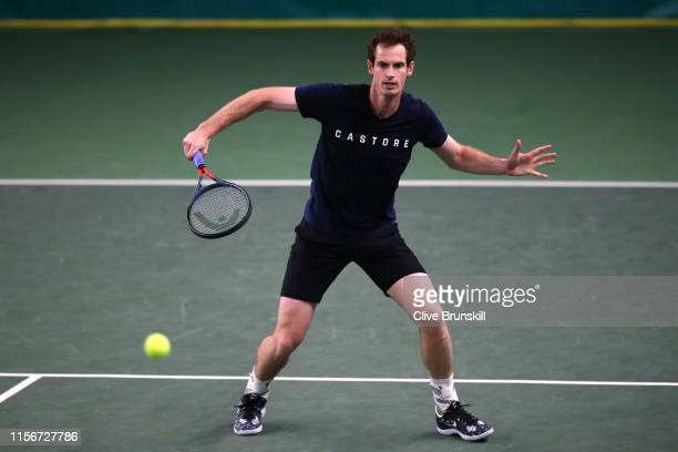 Andy Murray of Great Britain in action during a practice session indoors due to rain during day Two of the FeverTree Championships at Queens Club on...