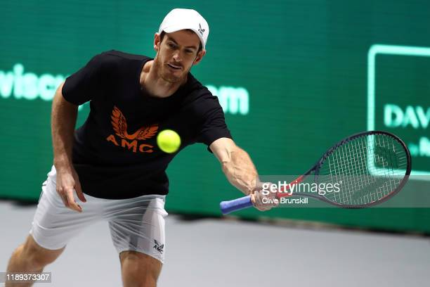 Andy Murray of Great Britain in action during a practice session ahead of his quarter final match on Day Five of the 2019 Davis Cup at La Caja Magica...